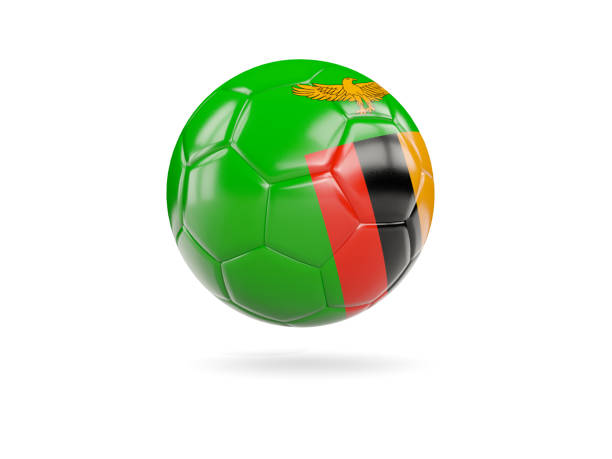 Football with flag of zambia stock photo