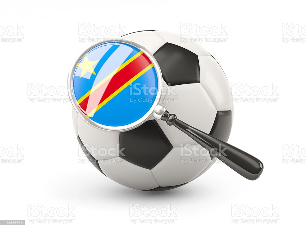 Football with magnified flag of democratic republic of the congo stock photo