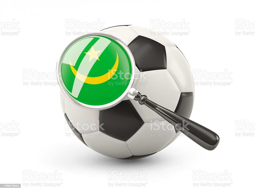 Football with magnified flag of mauritania stock photo