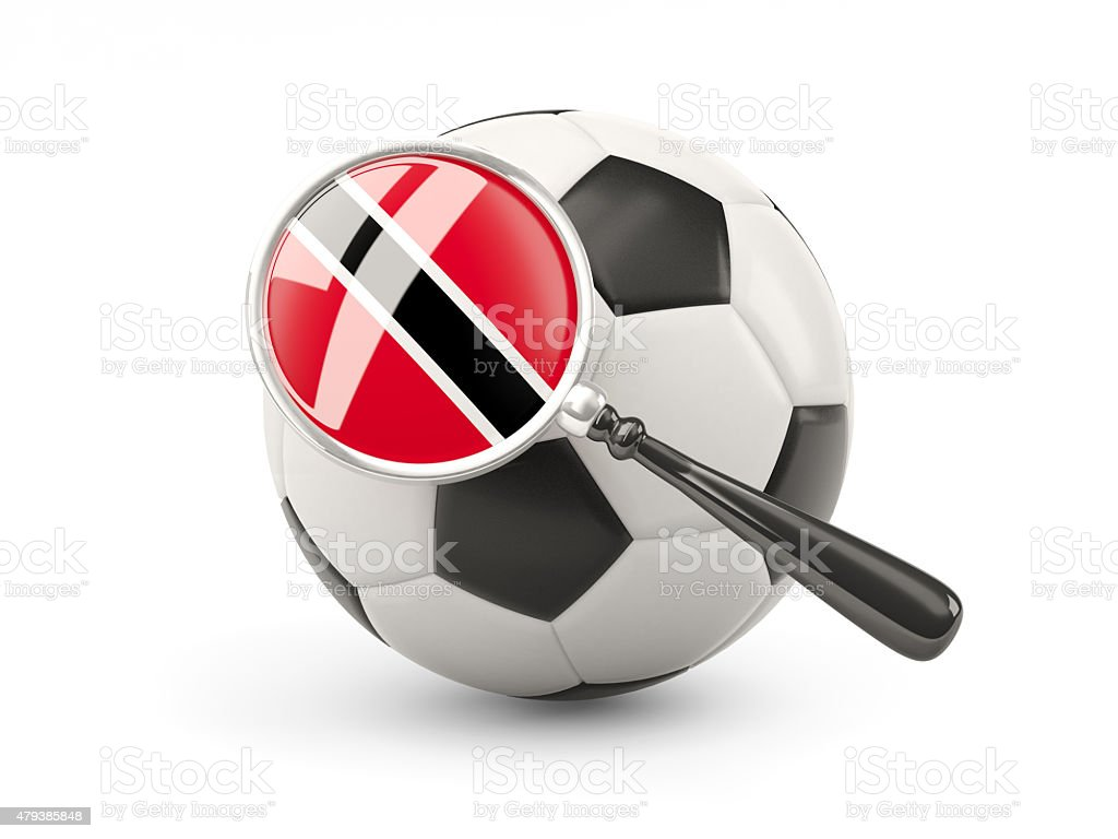 Football with magnified flag of trinidad and tobago stock photo