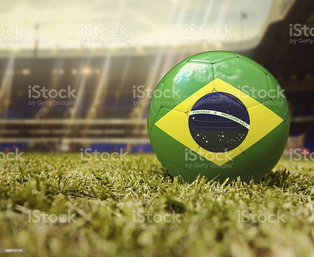 Football with the flag of Brazil royalty-free stock photo