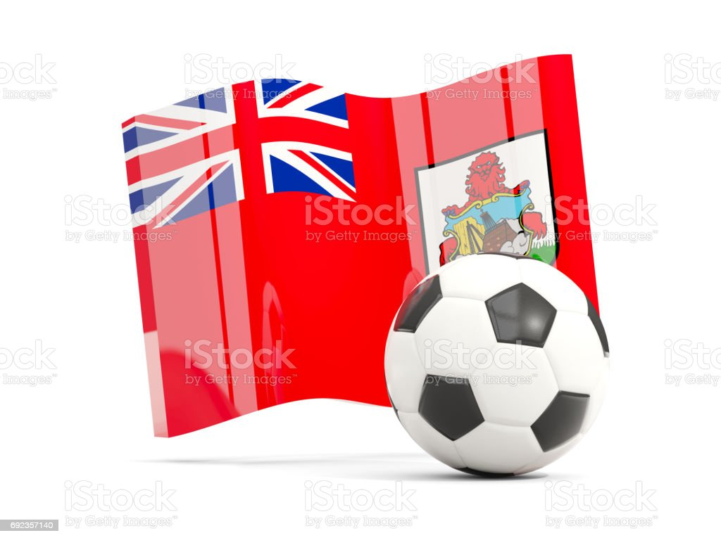 Football with waving flag of bermuda isolated on white stock photo