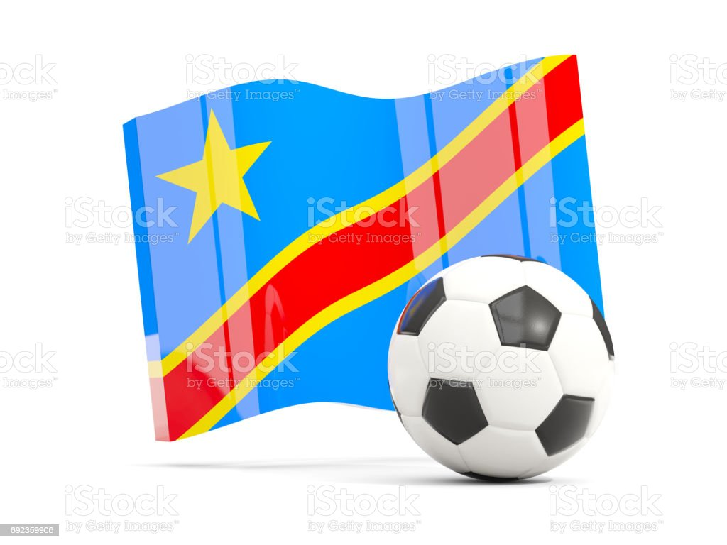 Football with waving flag of democratic republic of the congo isolated on white stock photo