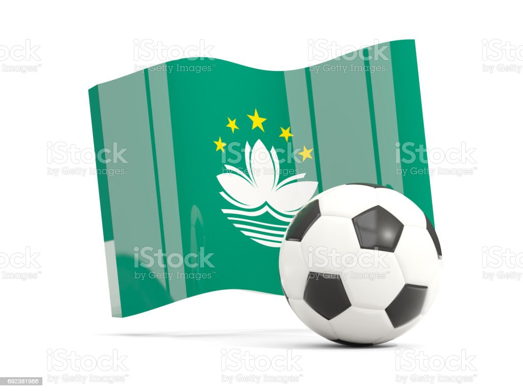 Football with waving flag of macao isolated on white stock photo