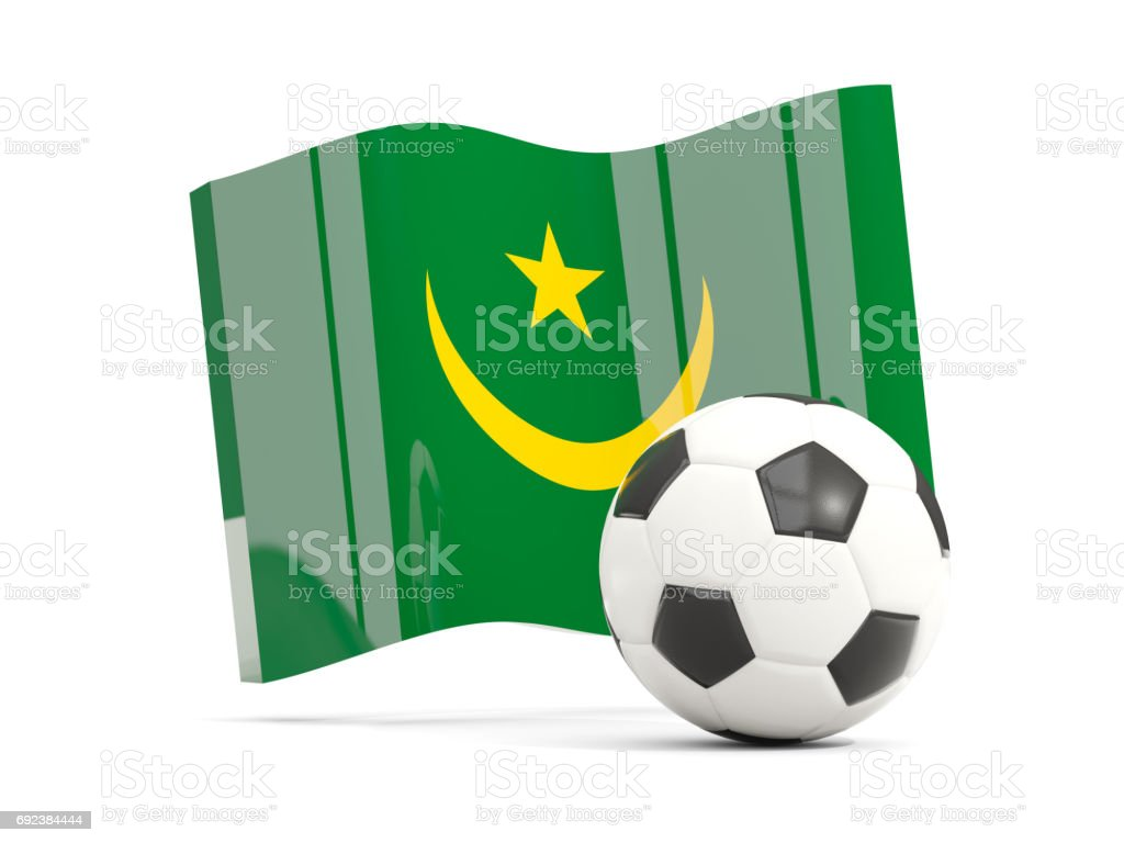 Football with waving flag of mauritania isolated on white stock photo