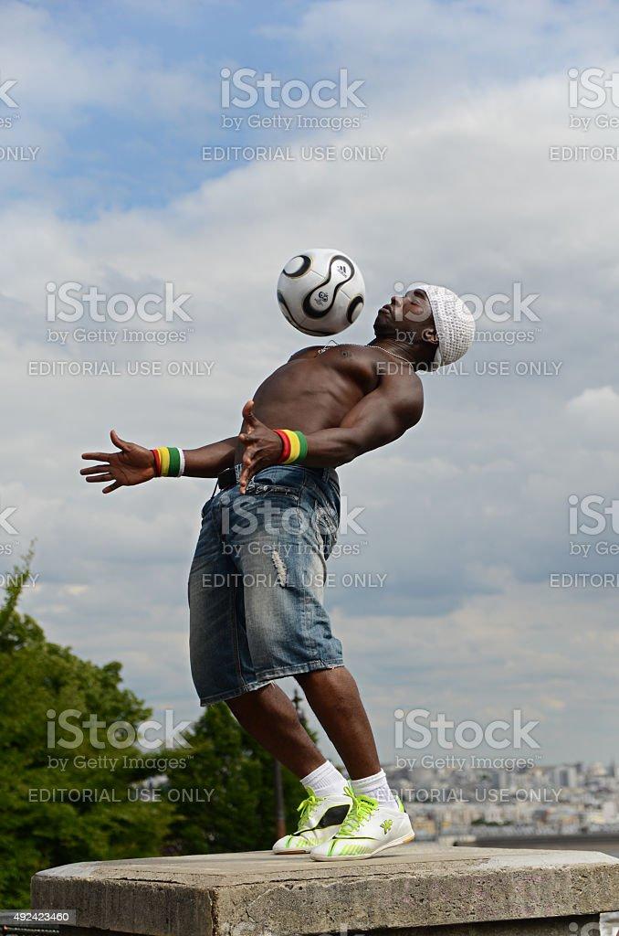 Footballer freestyler, Iya Traore stock photo