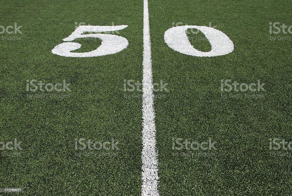 Footballs 50 Yard Line royalty-free stock photo