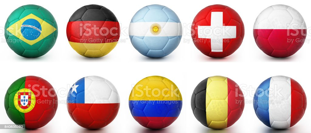 Footballs textured with leading football world countries' flags стоковое фото