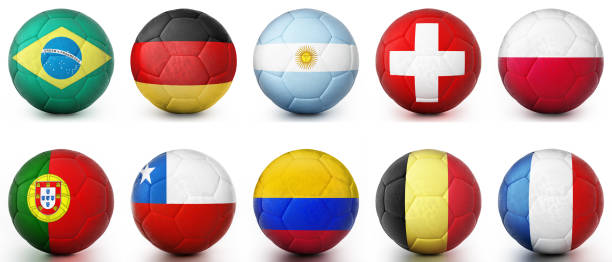 Cтоковое фото Footballs textured with leading football world countries' flags