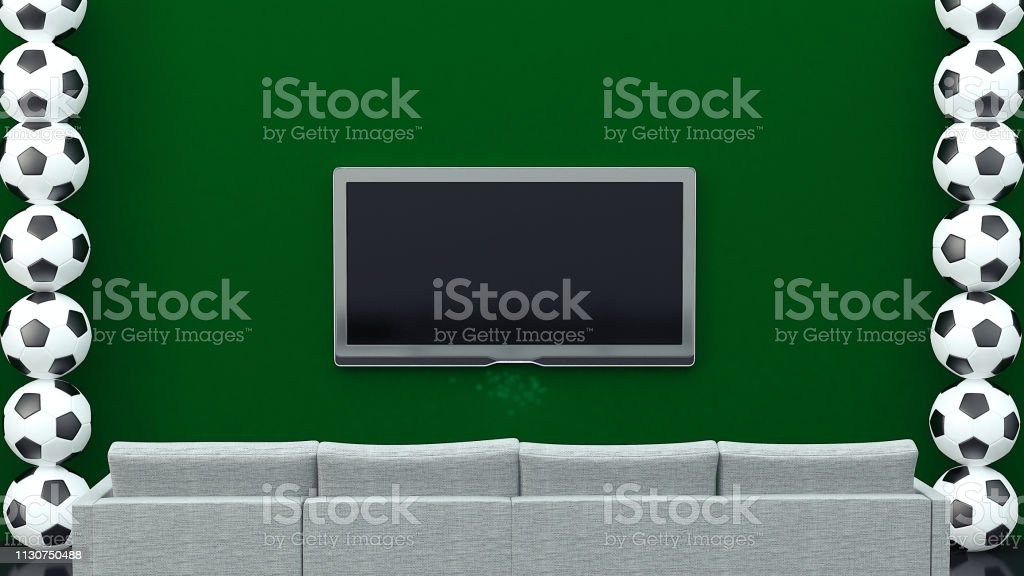 Footballs with LCD LED television screen in sitting room - copy space...