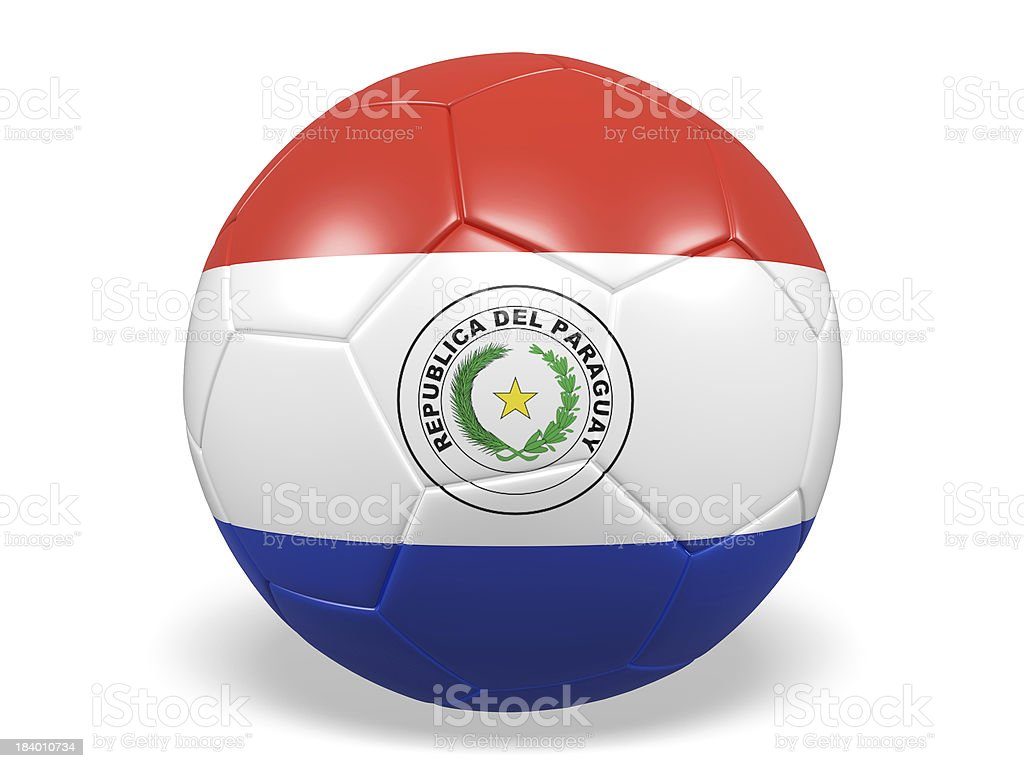 Football/soccer ball with a Paraguay flag. royalty-free stock photo