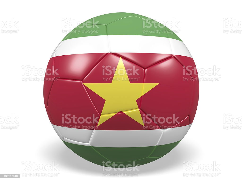 Football/soccer ball with a Suriname flag. royalty-free stock photo
