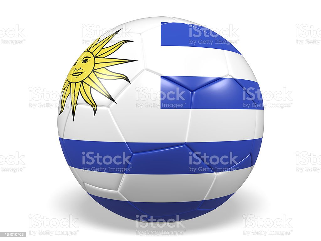 Football/soccer ball with a Uruguay flag. royalty-free stock photo