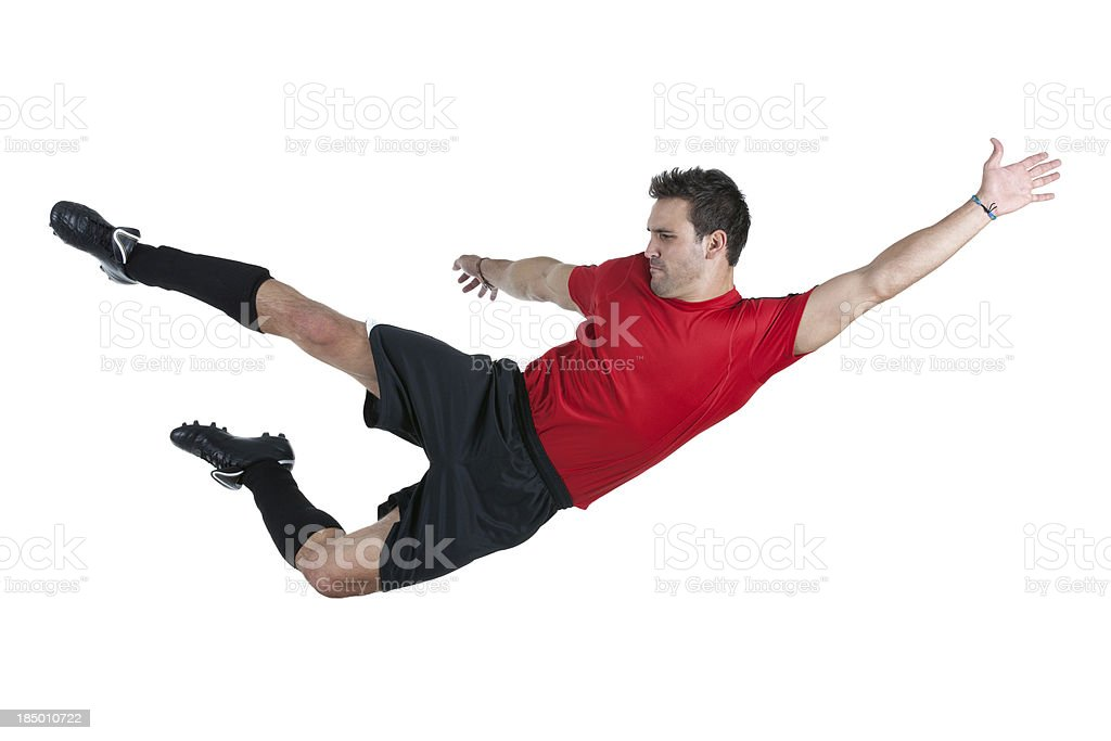 Football/Soccer player flying in air royalty-free stock photo
