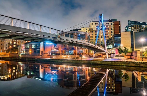 Footbridge across the Aire River in Leeds, England stock photo