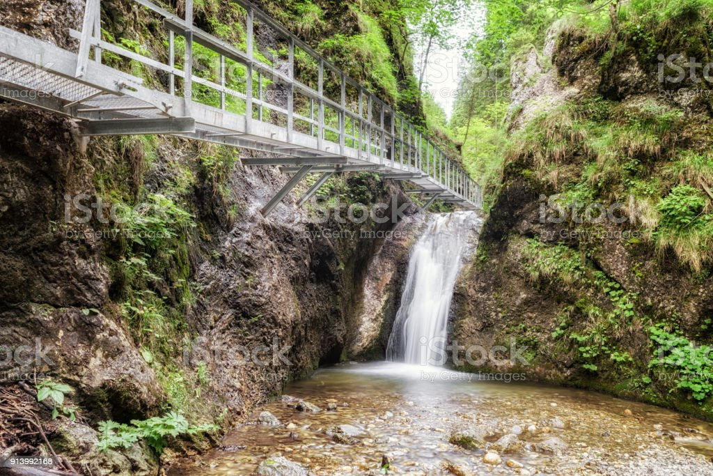 Footbridge and cascade in forest stock photo