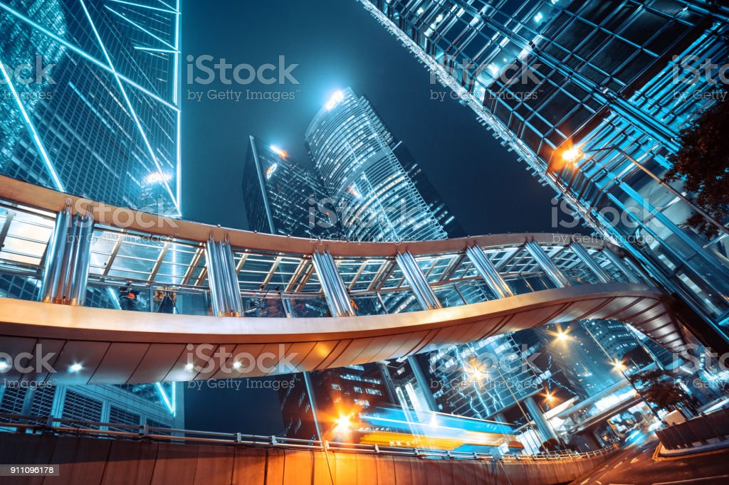 Footbridge and Corporate Buildings in central Hong Kong stock photo