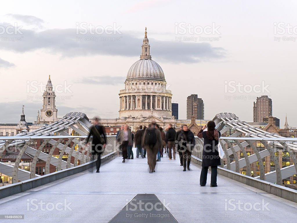 Footbridge and St. Paul's Cathedral stock photo