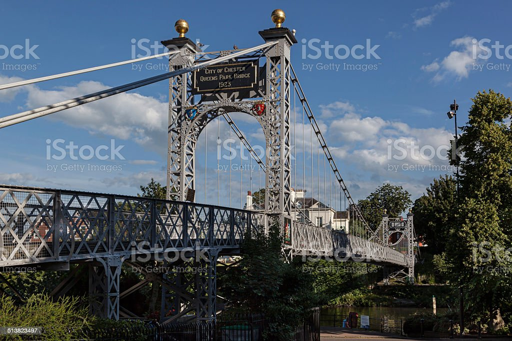 Footbridge Chester England stock photo