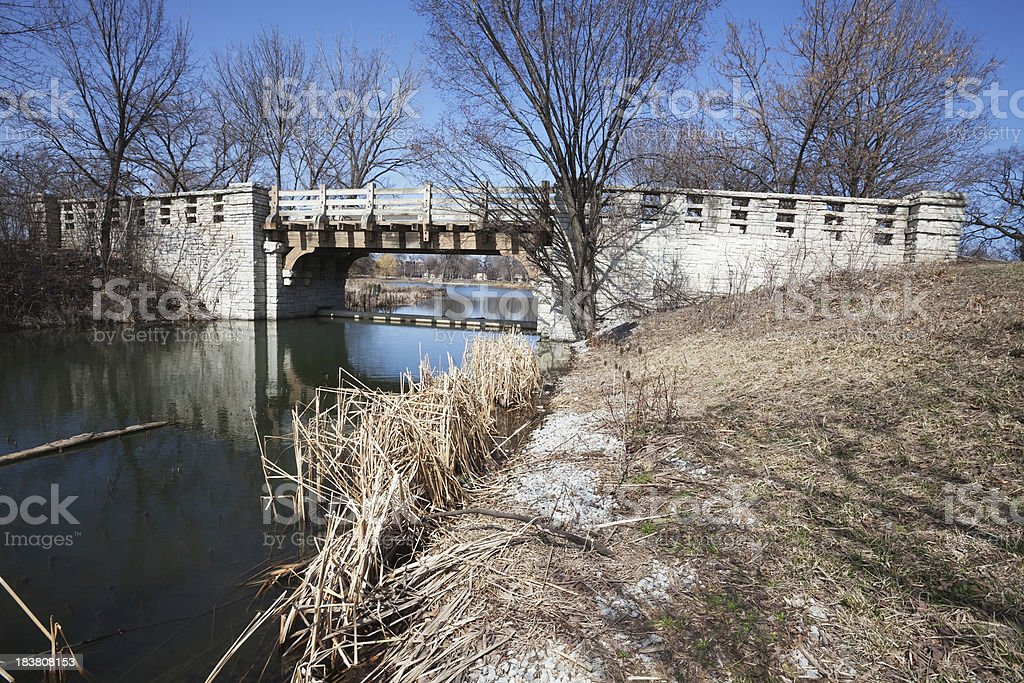 Footbridge in Marquette Park, Southwest Chicago royalty-free stock photo