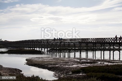 Quinta do Lago, Portugal - September 20, 2014: People on a footbridge in National Park Ria Formosa, the bridge leads to the beach.