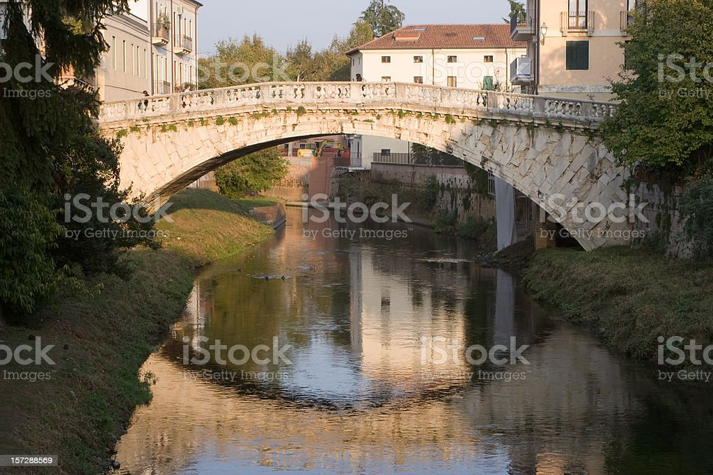 Footbridge in Vicenza Italy stock photo