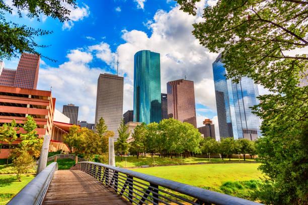 Footbridge Into Downtown Houston stock photo