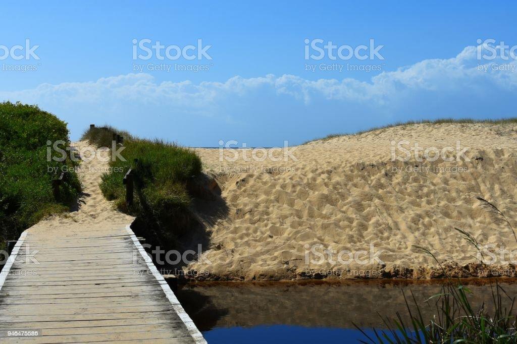 Footbridge leading to the beach stock photo