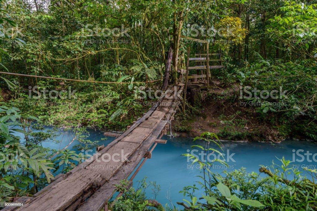 A footbridge over a rainforest river stock photo