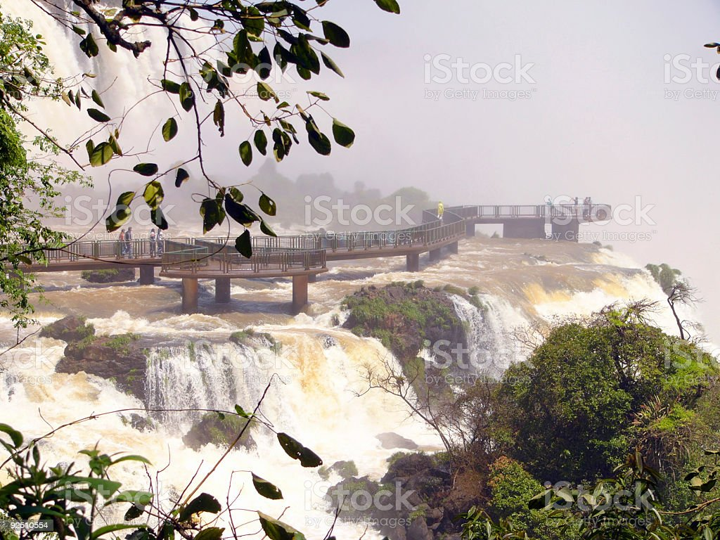Footbridge over Iguazu waterfall royalty-free stock photo