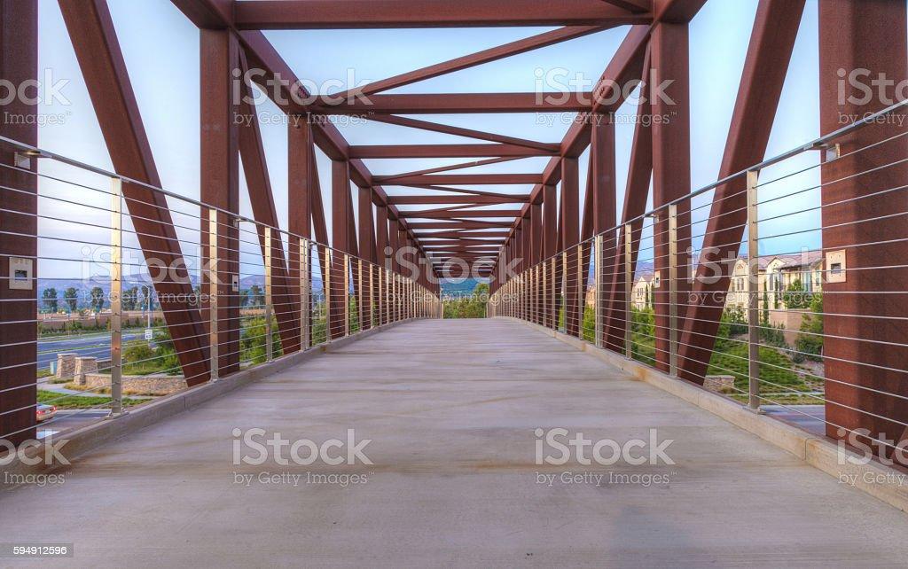 Footbridge over Irvine California stock photo