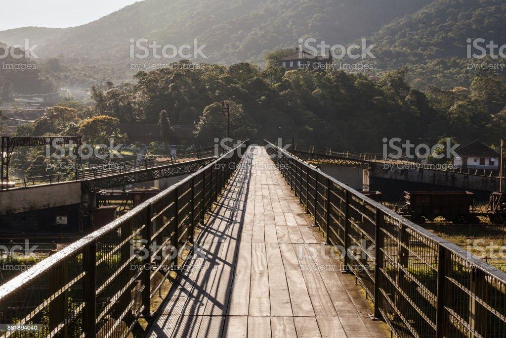 Footbridge over railroad of Paranapiacaba - SP - Brazil stock photo