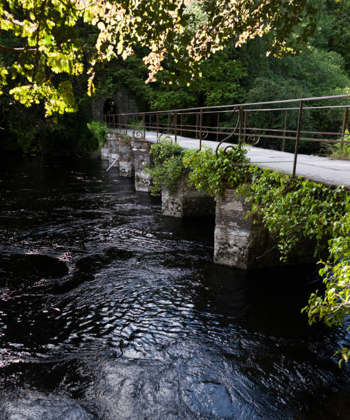 Footbridge over River Cong, County Mayo, Ireland stock photo