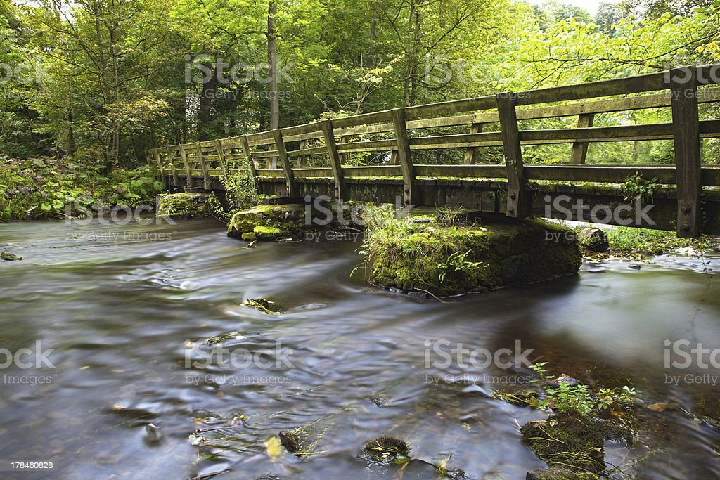 footbridge over river royalty-free stock photo