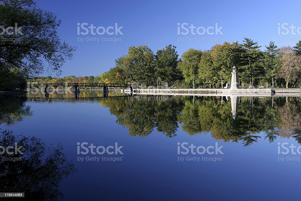 Footbridge over The Fox River, Illinois royalty-free stock photo