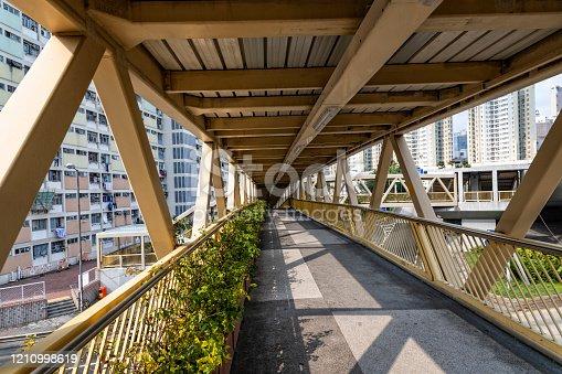 Urban pedestrian bridge in Hong Kong.
