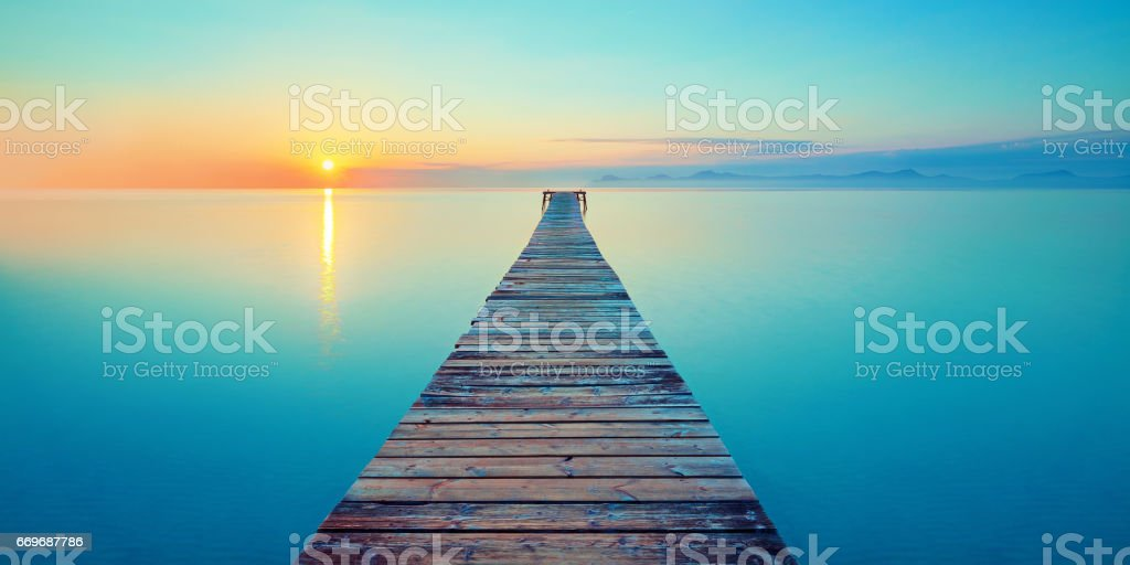 footbridge sea beach stock photo