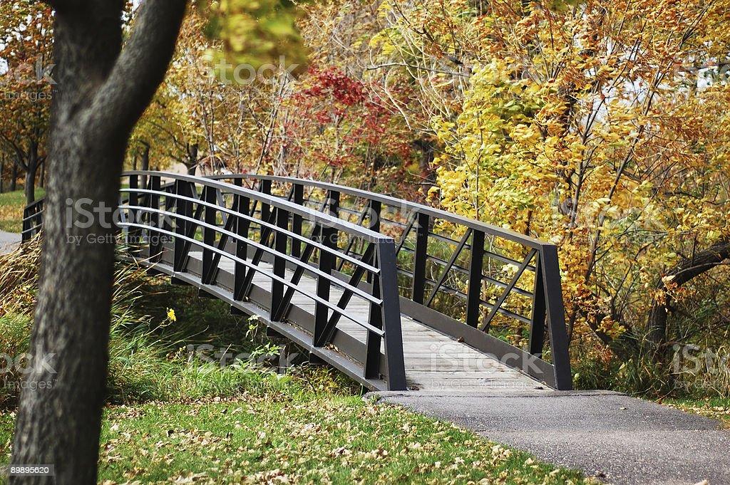 Footbridge Through Fall Colors royalty-free stock photo