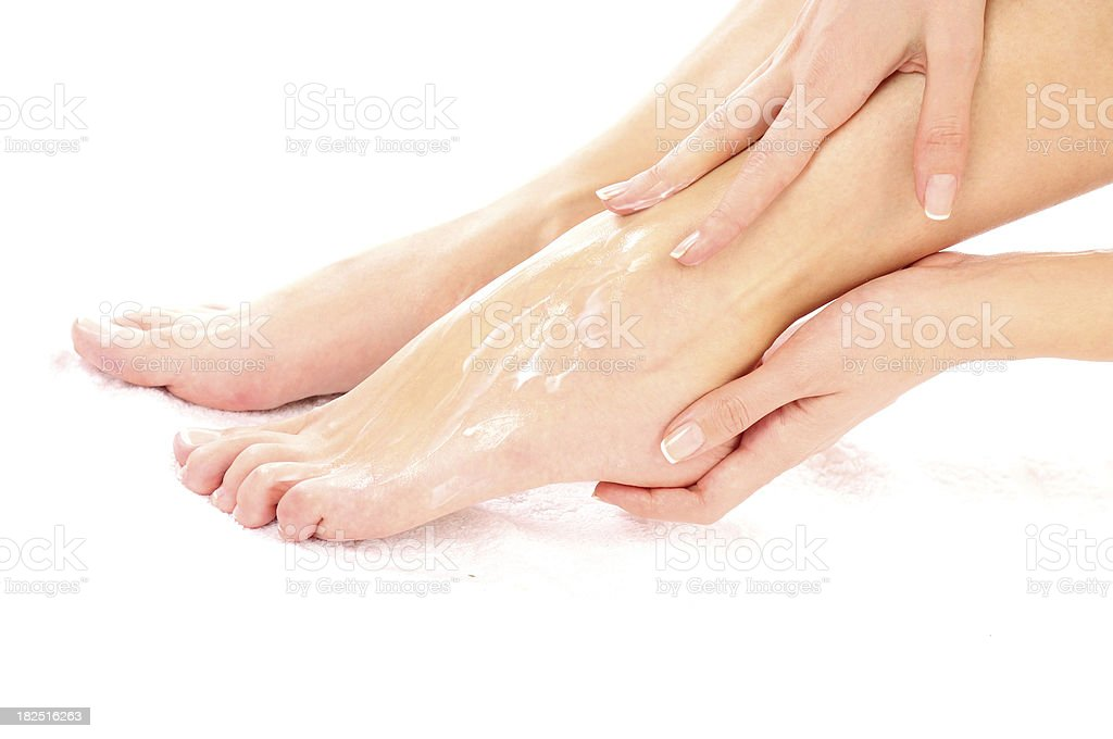 Smearing Footcare (crema - foto de stock
