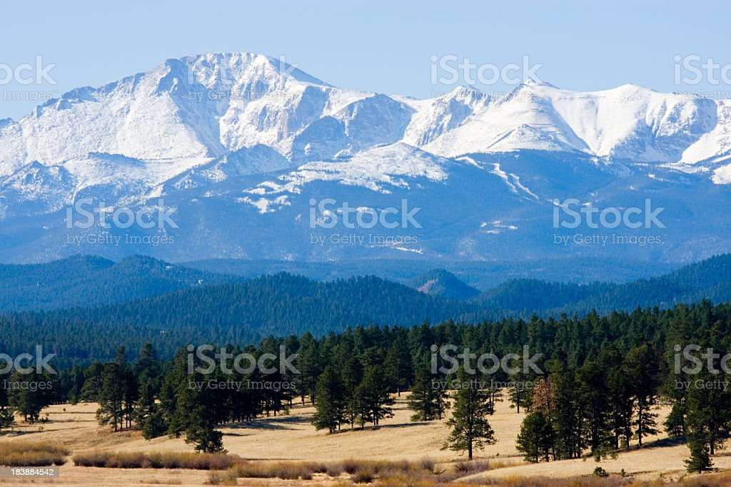 Foothills and Snowy Pikes Peak stock photo