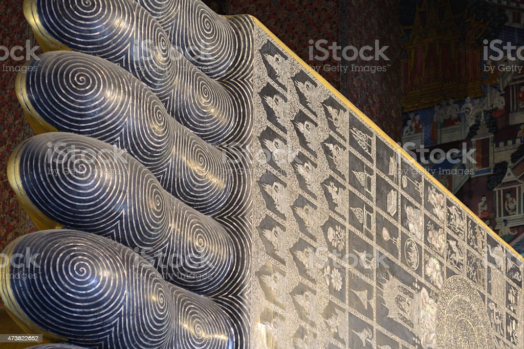Footmark Reclining Buddha at the Wat Pho temple, Bangkok, Thailand stock photo