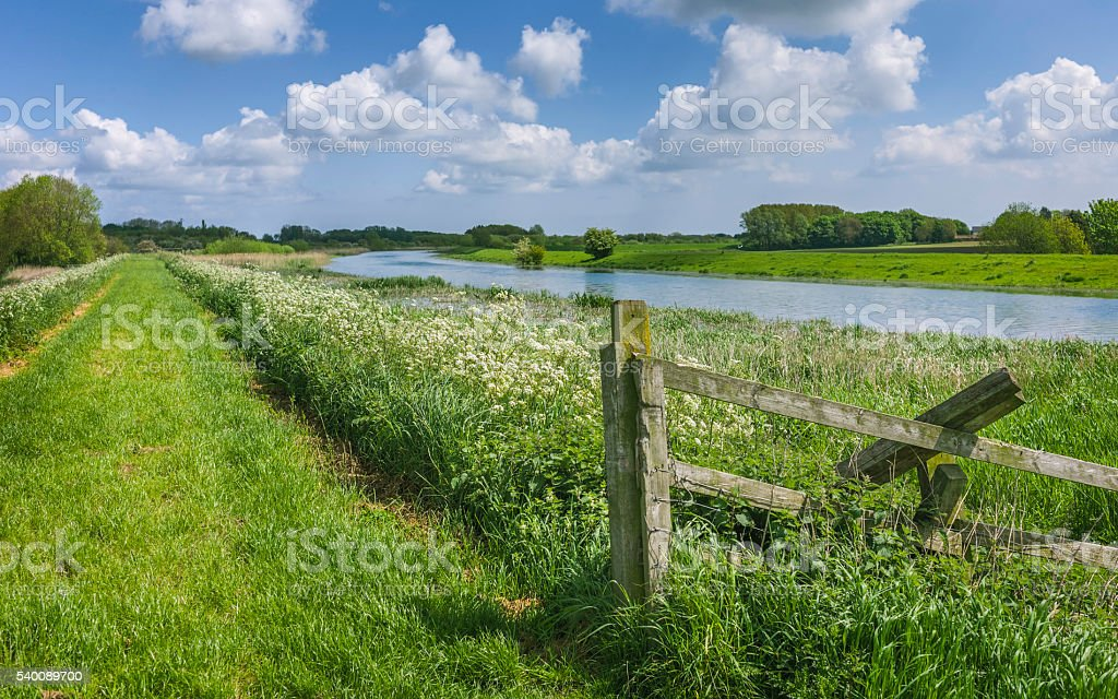 Footparth alongside the bank of the river Hull in summer. stock photo