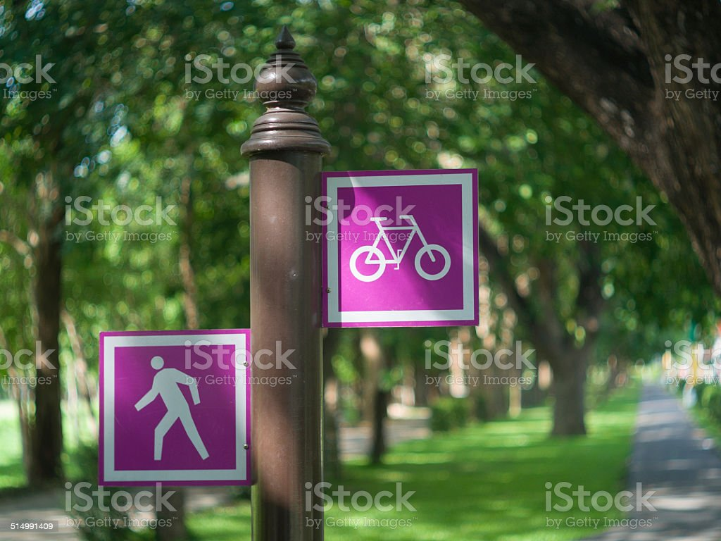 Footpath and bike lane signs stock photo