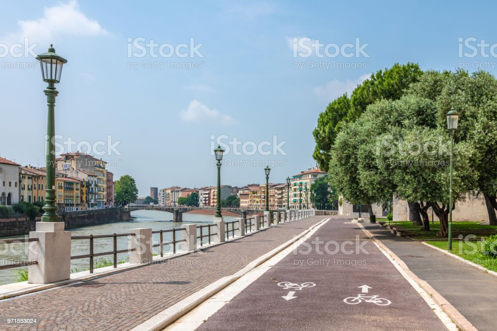 Footpath and cycle trail in Verona, Italy stock photo