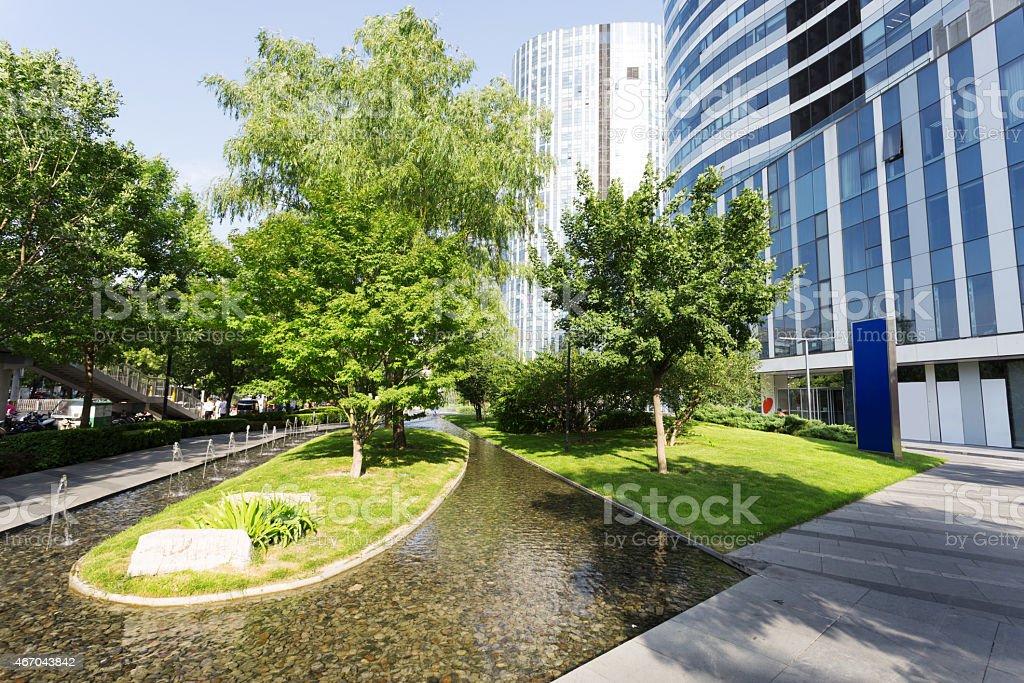 footpath around modern office building stock photo