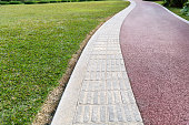 Footpath for people and blindness in the park.