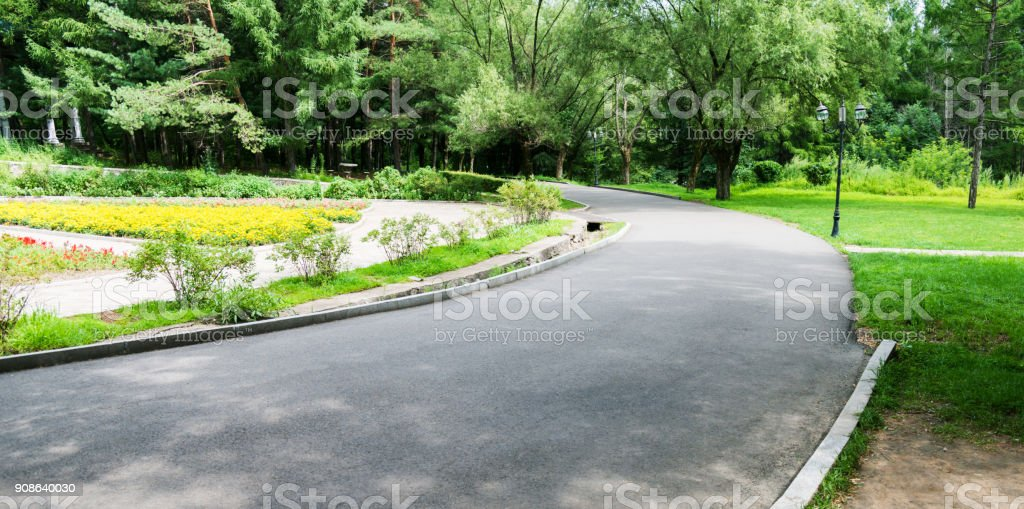 Footpath in a public park stock photo