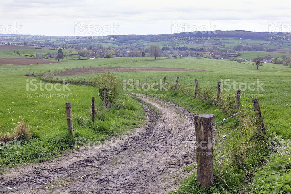 Footpath in a rolling landscape stock photo