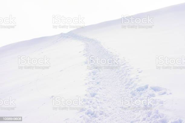 Photo of Footpath in deep snow through sparse landscape