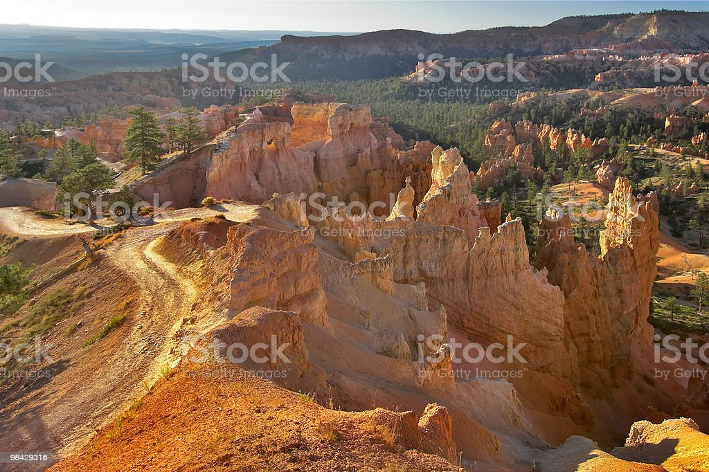 Footpath in orange mountains royalty-free stock photo